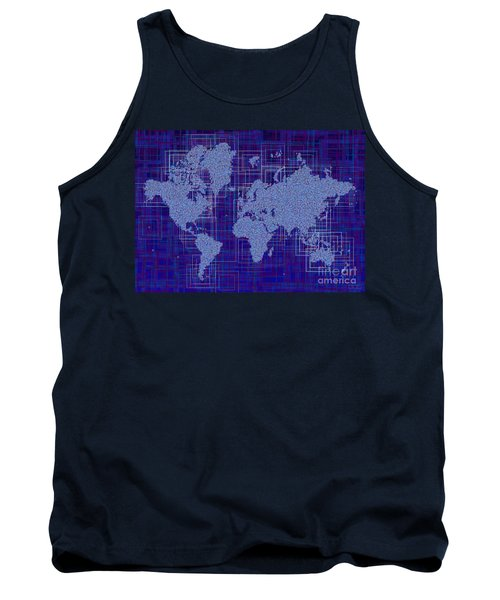 World Map Rettangoli In Blue And White Tank Top by Eleven Corners