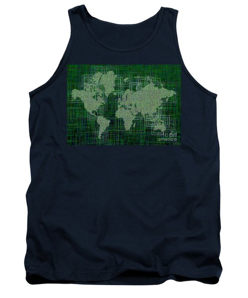 World Map Rettangoli In Green And White Tank Top by Eleven Corners
