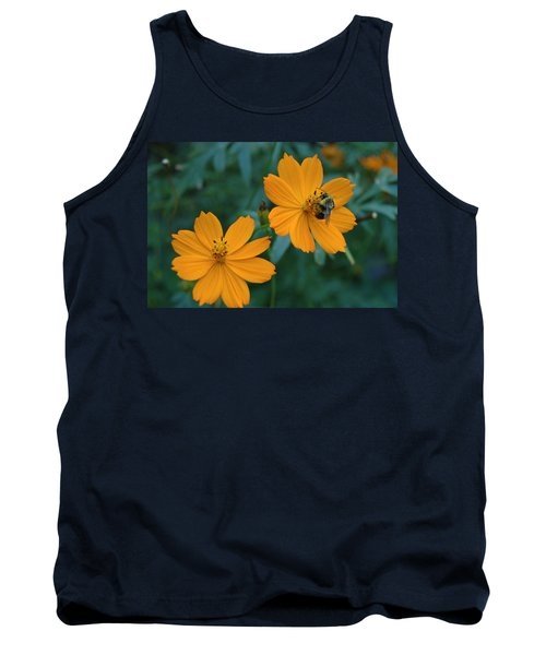Bee On Cosmos Flower  Tank Top by Tom Wurl
