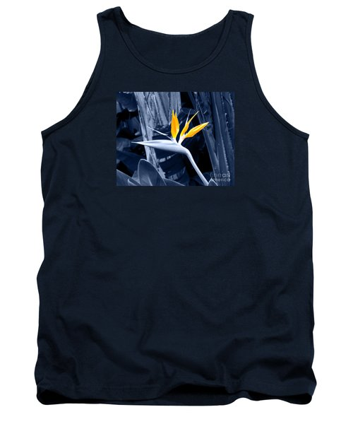 Blue Bird Of Paradise Tank Top by Rebecca Margraf