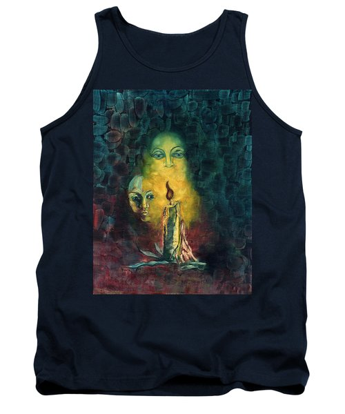 Candle Light Mother Child Faces In Yellow Candle Light Blue Red Background  Tank Top by Rachel Hershkovitz