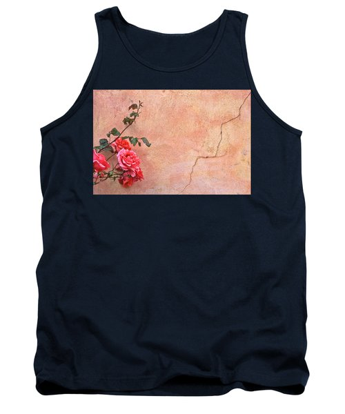Cracked Wall And Rose Tank Top