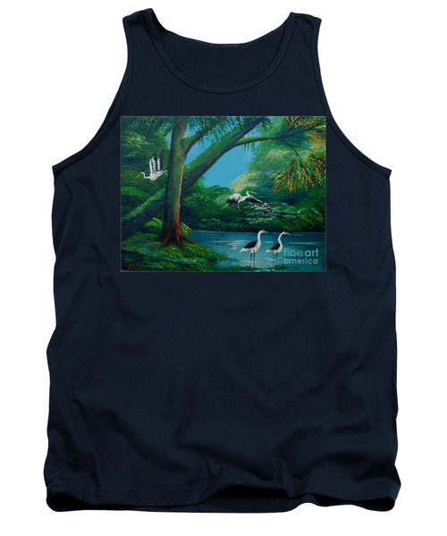 Cranes On The Swamp Tank Top