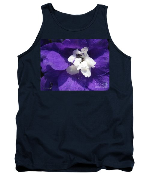Delphinium Named Blue With White Bee Tank Top by J McCombie