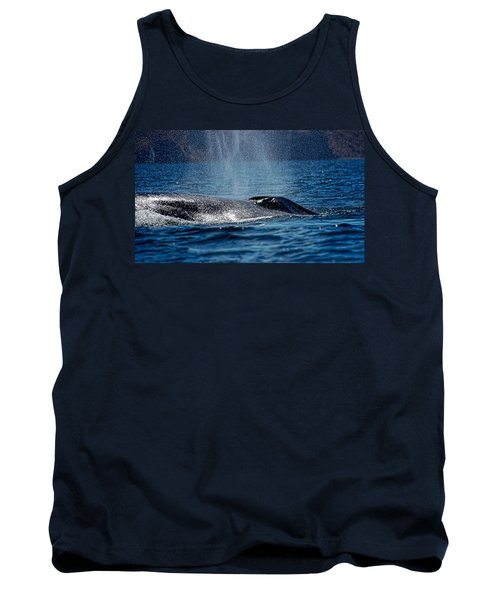 Tank Top featuring the photograph Fin Whale Spouting by Don Schwartz