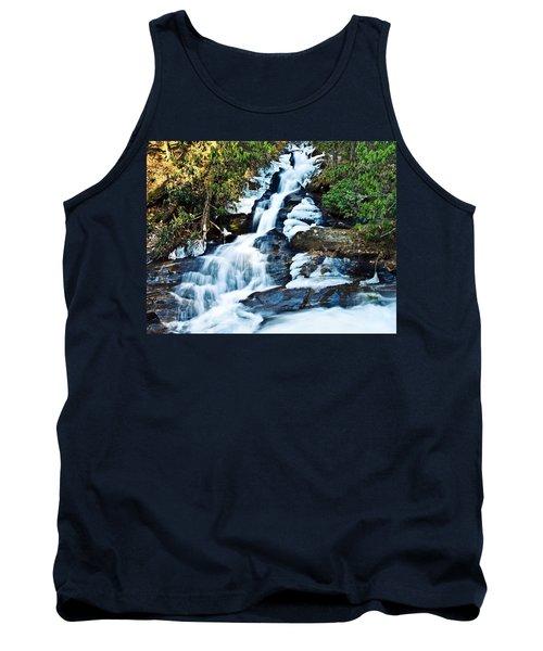 Tank Top featuring the photograph Frozen Waterfall by Susan Leggett