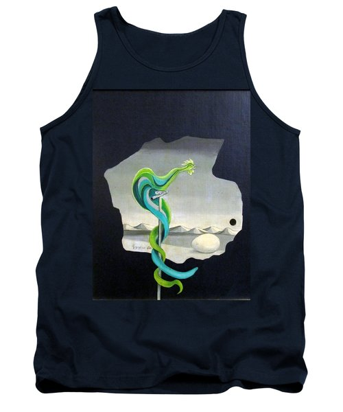 Green Rooster Call 2 In Surrealistic Frame Background Blue Tail Feathers Mountains Landscape And Egg Tank Top by Rachel Hershkovitz