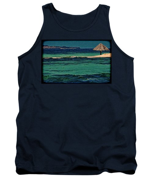 Tank Top featuring the photograph Grenadines Umbrella by Don Schwartz