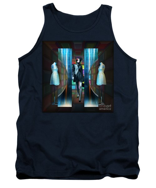 Tank Top featuring the digital art Steel Eyes Mannequin by Rosa Cobos