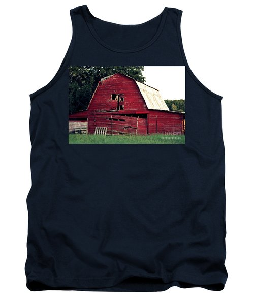 Tank Top featuring the photograph The Ole Red Barn by Kathy  White