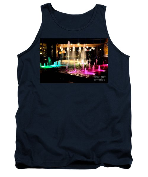 Tank Top featuring the photograph Water Fountain With Stars And Blue Green With Pink Lights by Christopher Shellhammer