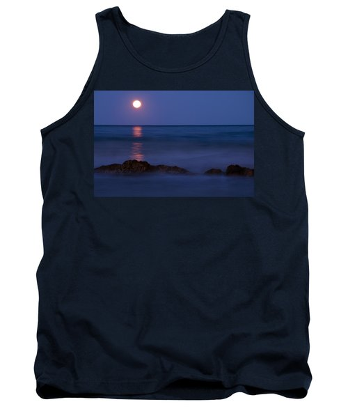Wells Beach Maine Moonrise Tank Top