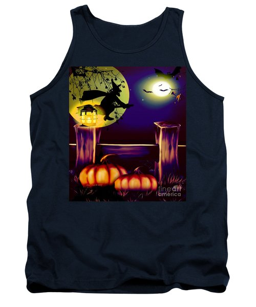 Halloween Witches Moon Bats And Pumpkins Tank Top by Annie Zeno