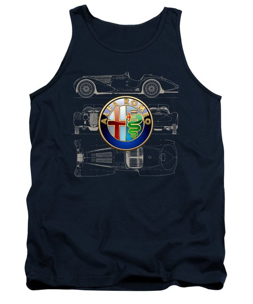 Alfa Romeo 3 D Badge Over 1938 Alfa Romeo 8 C 2900 B Vintage Blueprint Tank Top