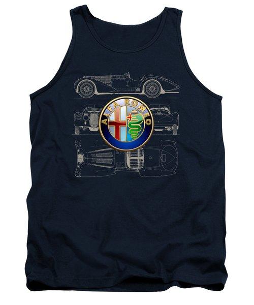 Alfa Romeo 3 D Badge Over 1938 Alfa Romeo 8 C 2900 B Vintage Blueprint Tank Top