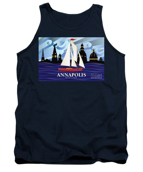 Annapolis Skyline Red Sail Boat Tank Top