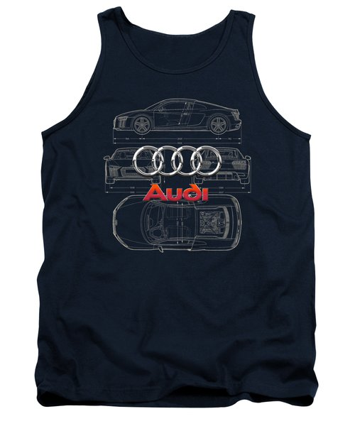 Audi 3 D Badge Over 2016 Audi R 8 Blueprint Tank Top by Serge Averbukh
