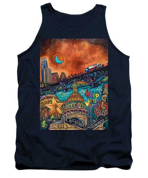 Tank Top featuring the painting Austin Montage by Patti Schermerhorn