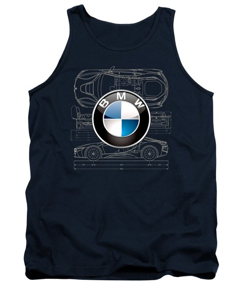 B M W 3 D Badge Over B M W I8 Blueprint  Tank Top