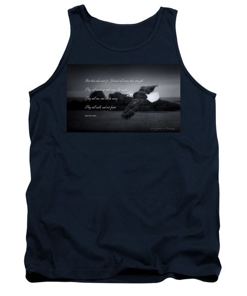 Tank Top featuring the photograph Bald Eagle In Flight With Bible Verse by John A Rodriguez