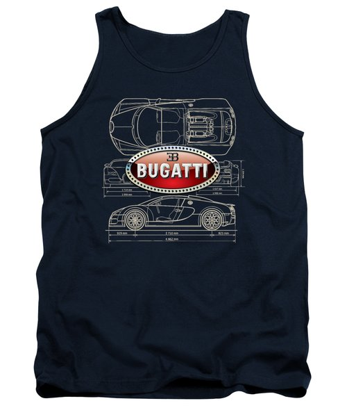 Bugatti 3 D Badge Over Bugatti Veyron Grand Sport Blueprint  Tank Top by Serge Averbukh