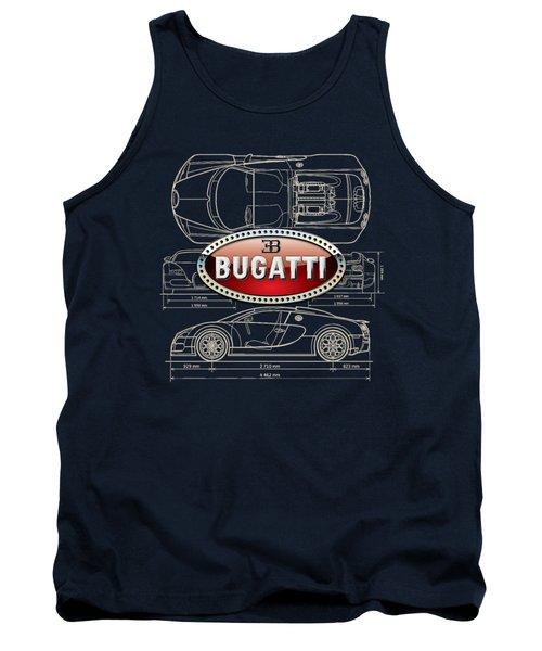 Bugatti 3 D Badge Over Bugatti Veyron Grand Sport Blueprint  Tank Top
