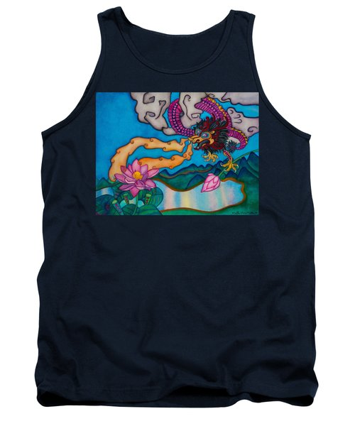 Dragon Heart And Lotus Flower Tank Top