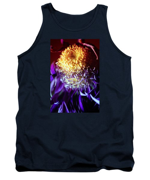Dying Purple Chrysanthemum Flower Background Tank Top by John Williams