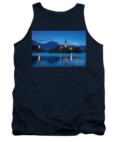 Tank Top featuring the photograph Lake Bled Twilight by Brian Jannsen