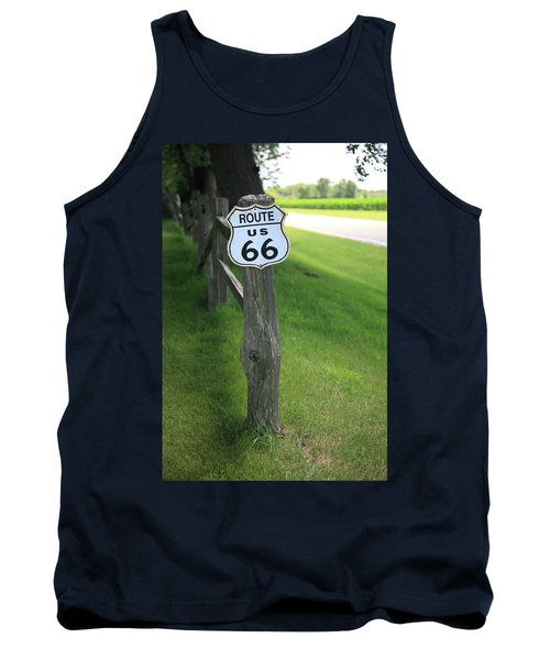 Tank Top featuring the photograph Route 66 Shield And Fence Post by Frank Romeo