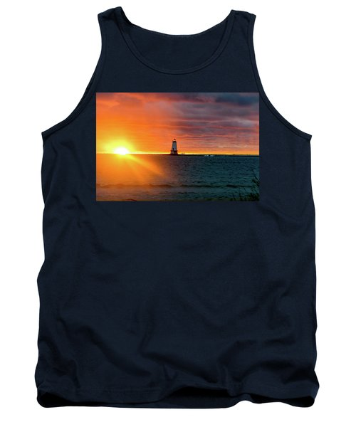 Sunset And Lighthouse Tank Top
