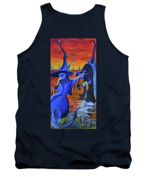 Tank Top featuring the painting The Cat And The Witch by Christophe Ennis