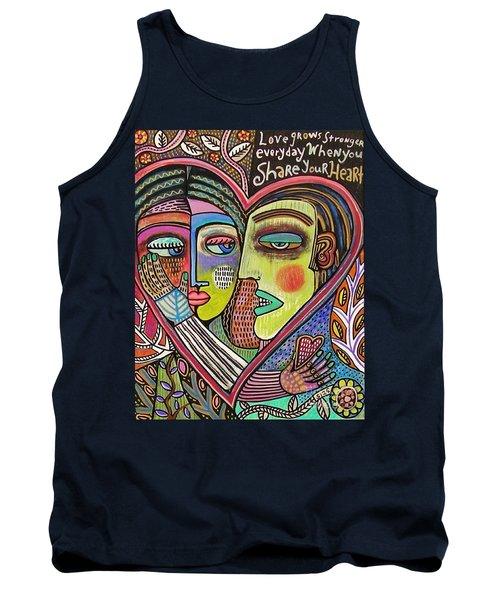 Tree Of Life Heart Lovers Tank Top by Sandra Silberzweig