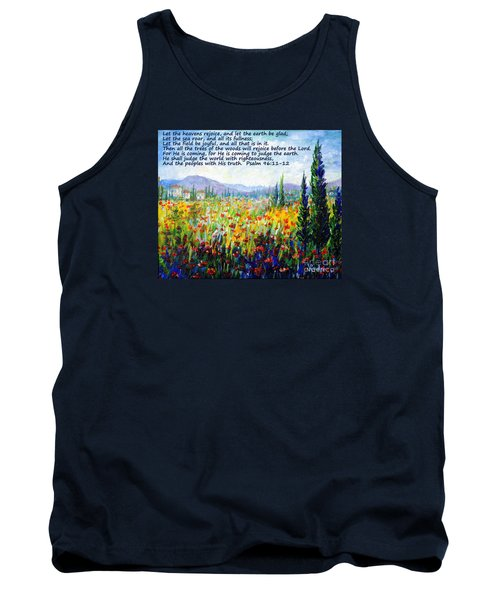Tank Top featuring the painting Tuscany Fields With Scripture by Lou Ann Bagnall