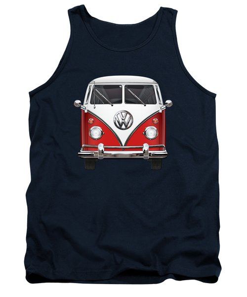 Volkswagen Type 2 - Red And White Volkswagen T 1 Samba Bus Over Green Canvas  Tank Top