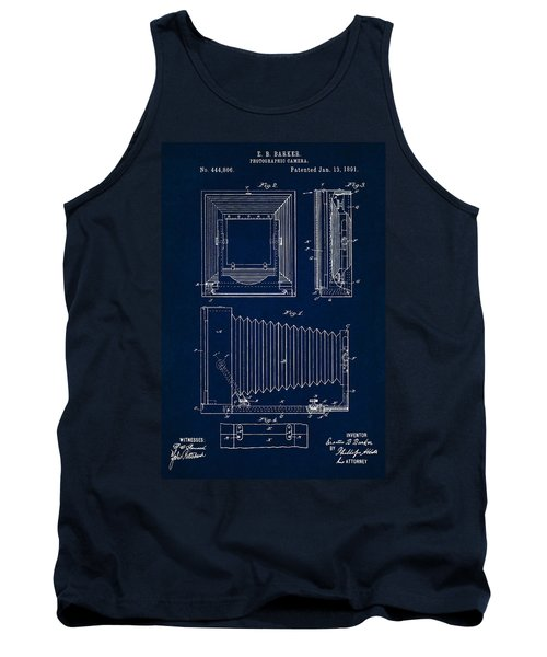 1891 Camera Us Patent Invention Drawing - Dark Blue Tank Top