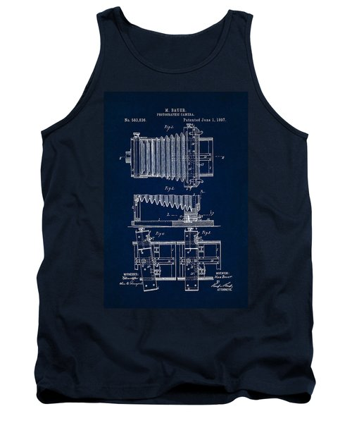 1897 Camera Us Patent Invention Drawing - Dark Blue Tank Top