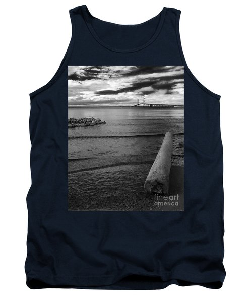 Mackinac Bridge - Infrared 01 Tank Top by Larry Carr