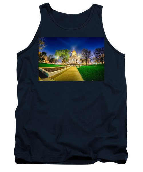 Tank Top featuring the photograph Topeka Kansas Downtown At Night by Alex Grichenko