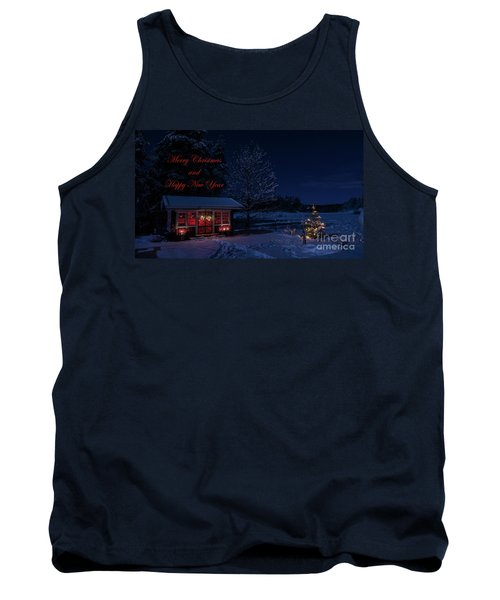 Tank Top featuring the photograph Winter Night Greetings In English by Torbjorn Swenelius