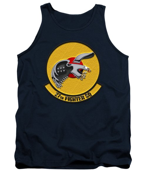 Tank Top featuring the digital art 27th Fighter Squadron - 27 Fs Over Blue Velvet by Serge Averbukh