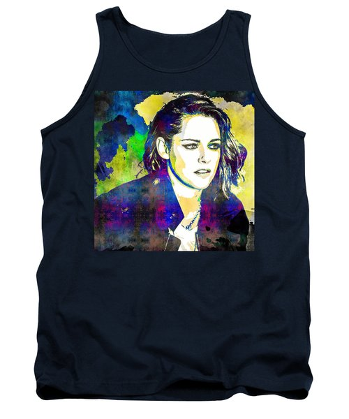 Tank Top featuring the mixed media Kristen Stewart by Svelby Art