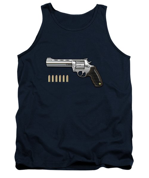 .44 Magnum Colt Anaconda With Ammo On Blue Velvet  Tank Top