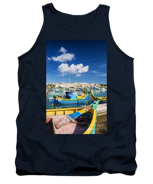 Marsaxlokk Harbour And Traditional Mediterranean Fishing Boats I Tank Top