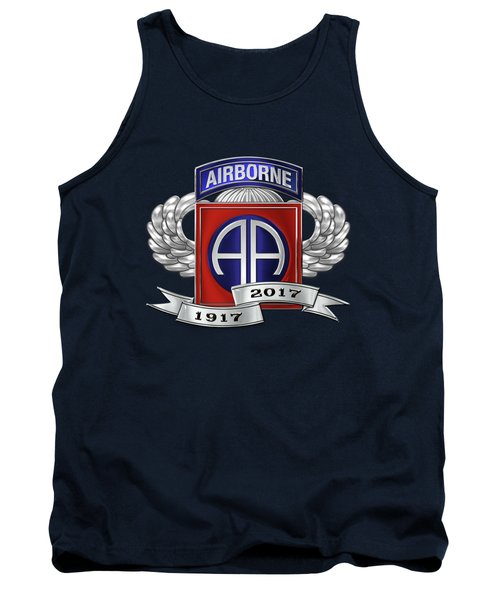 Tank Top featuring the digital art 82nd Airborne Division 100th Anniversary Insignia Over Blue Velvet by Serge Averbukh