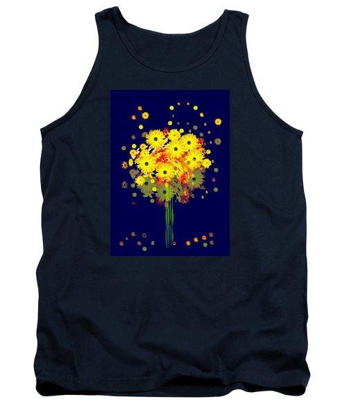 952 - Summer Flowers  Yellow ... Tank Top