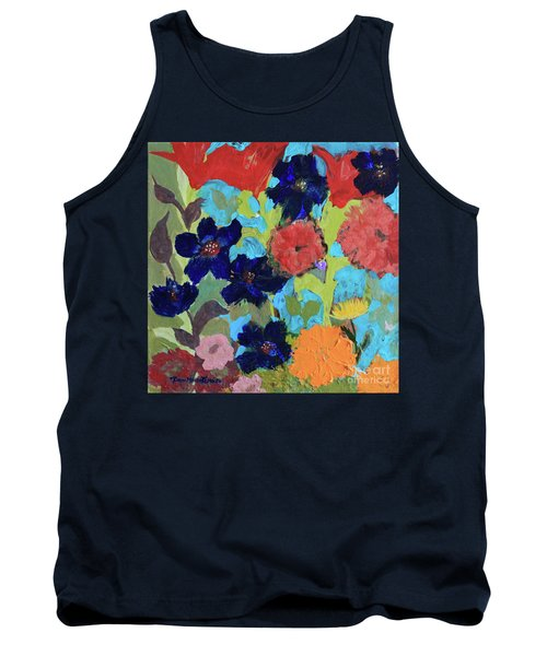 Tank Top featuring the painting A Dandelion Weed Making It's Way In The Garden by Robin Maria Pedrero