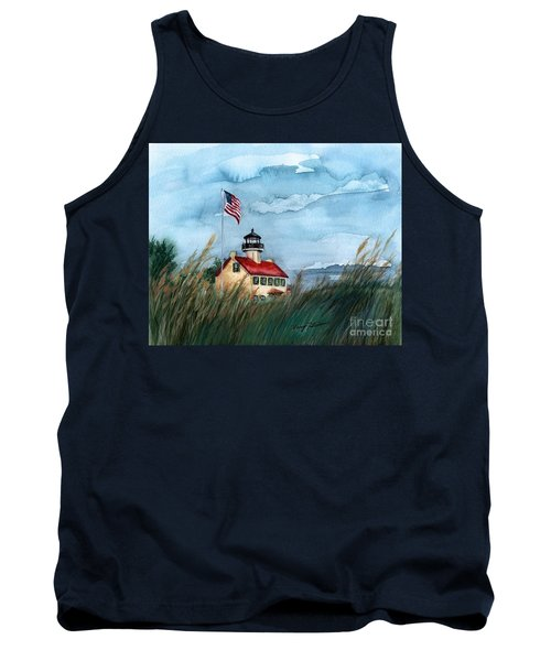 A New Day At East Point Lighthouse Tank Top by Nancy Patterson