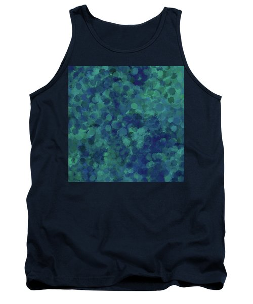 Tank Top featuring the mixed media Abstract Blues 1 by Clare Bambers