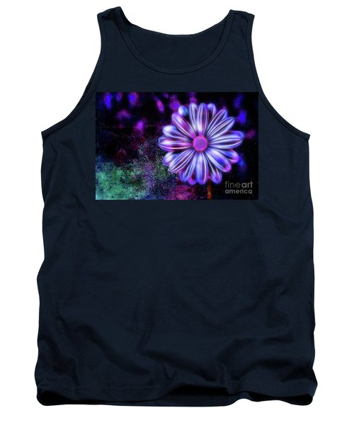 Abstract Glowing Purple And Blue Flower Tank Top